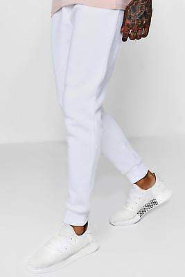 boohoo NEW Mens Lightweight Drop Crotch Basic Jersey Joggers in Cotton