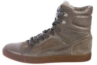 Brunello Cucinelli Shearling-Trimmed Metallic Sneakers