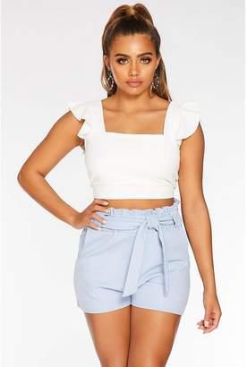 Quiz Petite Light Blue Paper Bag Shorts