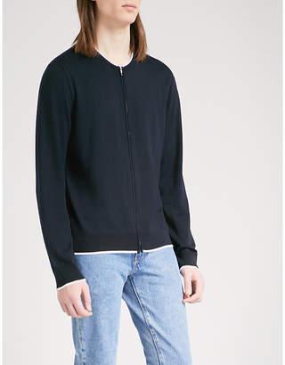 Sandro Striped-trims wool cardigan
