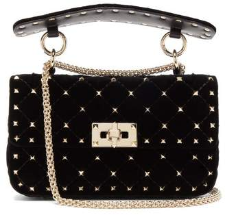Valentino Rockstud Spike Velvet Cross Body Bag - Womens - Black