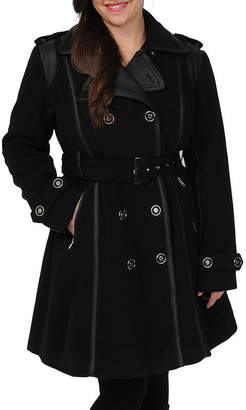 Excelled Leather Excelled Faux-Wool Belted Trench Coat