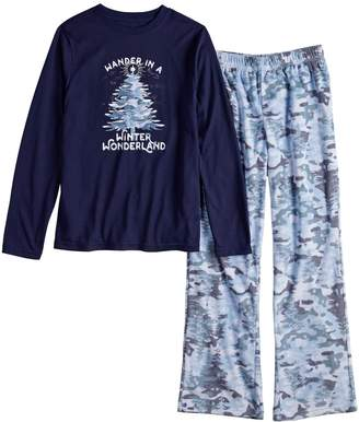 """Boys 4-20 Jammies For Your Families Holiday Camouflage """"Wander in a Winter Wonderland"""" Top & Microfleece Bottoms Pajama Set"""
