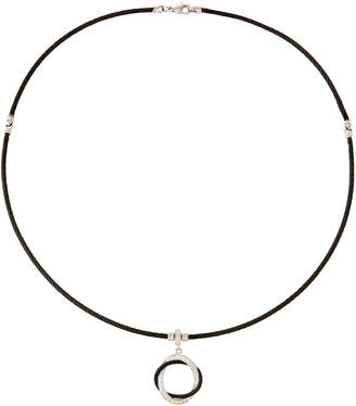 Alor Noir Cable & Diamond Circle Pendant Necklace