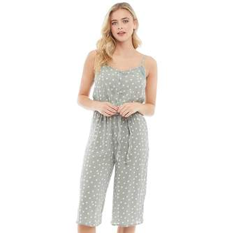 Brave Soul Womens Antonia All Over Print Jumpsuit Dew/White