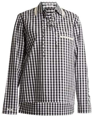 Blouse - Piggy Lace Up Neck Cotton Gingham Shirt - Womens - Black White