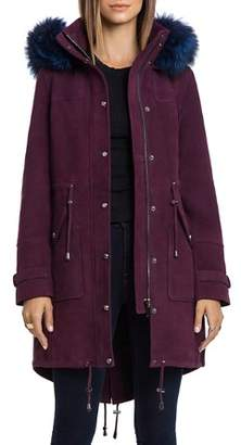 BAGATELLE.CITY Hooded Suede Parka with Fur Trim