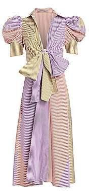 Silvia Tcherassi Women's Bethany Bow Puff-Sleeve Midi Dress