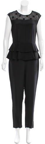 Kate Spade New York Silk Ruffle-Trimmed Jumpsuit