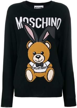 Moschino Playboy Toy Bear intarsia sweater