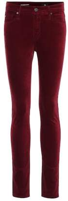 AG Jeans The Farrah high-waisted velvet skinny jeans