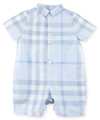 Burberry Kirk Check Collared Shortall, Ice Blue, Size 3-24 Months