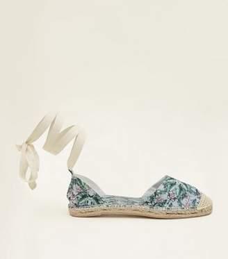 New Look Blue Canvas Tropical Print Ankle Tie Espadrilles