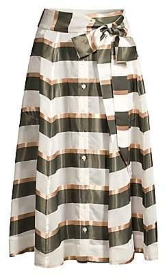 Lisa Marie Fernandez Women's Stripe A-Line Beach Maxi Skirt