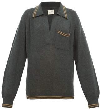 KHAITE Ellen V Neck Striped Trim Cashmere Sweater - Womens - Dark Green
