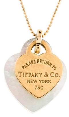 Tiffany & Co. 18K Mother of Pearl Double Heart Pendant Necklace