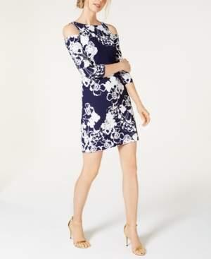 Jessica Howard Floral-Print Cold-Shoulder Dress