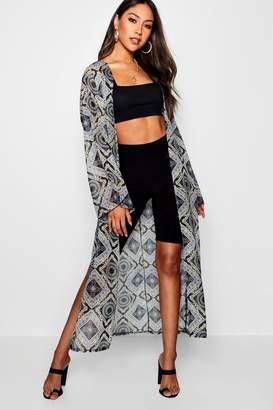 boohoo Sandy Chain Print Chiffon Kimono