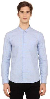 Voi Jeans New Mens Designer Slim Fit Shirt Light Blue Check VOSH1035
