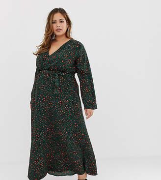 Club L London Plus Plus wrap front leopard maxi dress