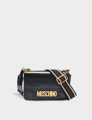 Moschino Lettering Shoulder Flap Bag in Black Deerskin