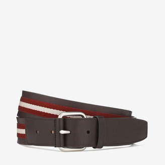 Bally Tianis Red, Men's Trainspotting stripe belt in Red & beige