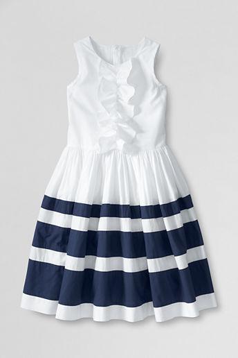 Lands' End Little Girls' Sleeveless Stripe Dress