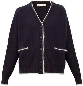 Marni Contrast Trim Wool Blend Cardigan - Womens - Navy Multi