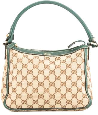 Gucci Green Leather GG Monogram Canvas Tote Bag (Pre Owned)