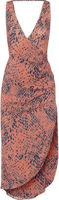 Vix Kristin wrap-effect printed voile midi dress $198 thestylecure.com