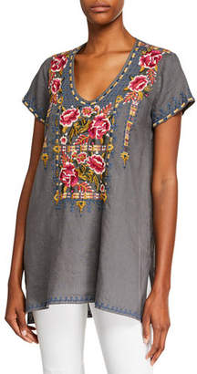 Johnny Was Axton Draped V-Neck Short-Sleeve Linen Top