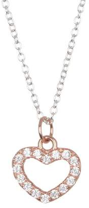 Argentovivo Two-Tone Pave Heart Pendant Necklace