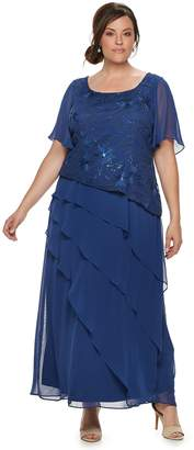 Le Bos Plus Size Tiered Sequin Dress