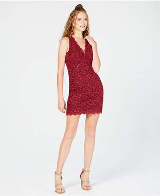 Jump Juniors' Sequined Lace Bodycon Dress