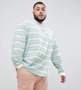Puma Organic Cotton Long Sleeve T-Shirt In Retro Stripe In Blue Exclusive To ASOS