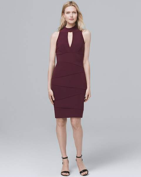 Whbm Mock Neck Instantly Slimming Sheath Dress