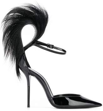 Saint Laurent Jamie fur-trim patent pumps