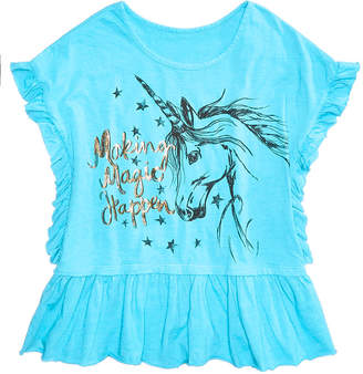 Kandy Kiss Ruffle Edge Graphic-Print Top, Big Girls