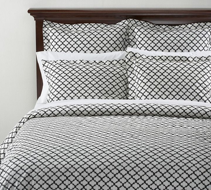 Tile Organic Duvet Cover & Sham - Black