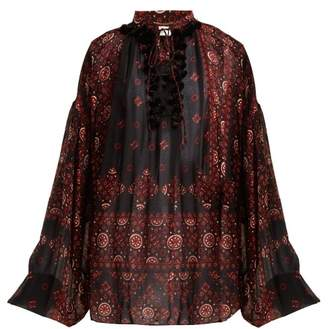 Saint Laurent Paisley Print Crepe Blouse - Womens - Black Red