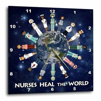 Planet Earth 3dRose Nurses Heal the World with male and female nurses of all cultures circling the globe, Wall Clock, 15 by 15-inch