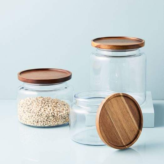 Glass Jars w/ Acacia Lids