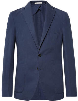 Privee SALLE Navy Ross Slim-Fit Unstructured Cotton And Linen-Blend Suit Jacket