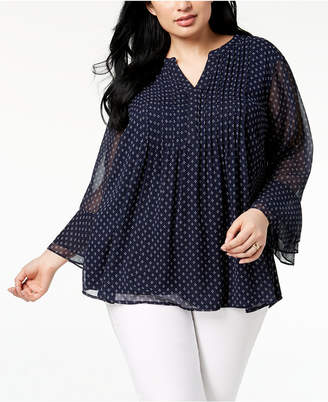 Charter Club Plus Size Pleated Chiffon Blouse