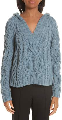 PARTOW Melange Cable Knit Hooded Sweater