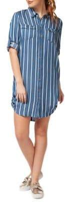 Dex Striped Button-Front Shirtdress