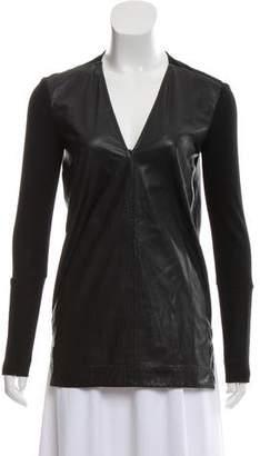 Helmut Lang Leather V-Neck Top