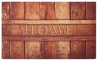 Rubber Indoor Doormat Rustic Entrance Welcome Mat 18X30 Heavy Duty Low Profile Front Door Mat Home Decor Non Slip Entryway Rug for Apartment Garage Kitchen Wood Words Inside Shoe Scraper Floor Carpet