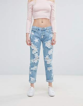 Glamorous Star Print Ripped Jeans