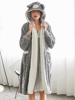 Shein Contrast Lined Plush Hooded Koala Robe
